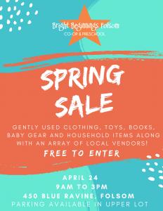 Bright Beginnings Spring Yard Sale @ Bright Beginnings Folsom Co-op & Preschool